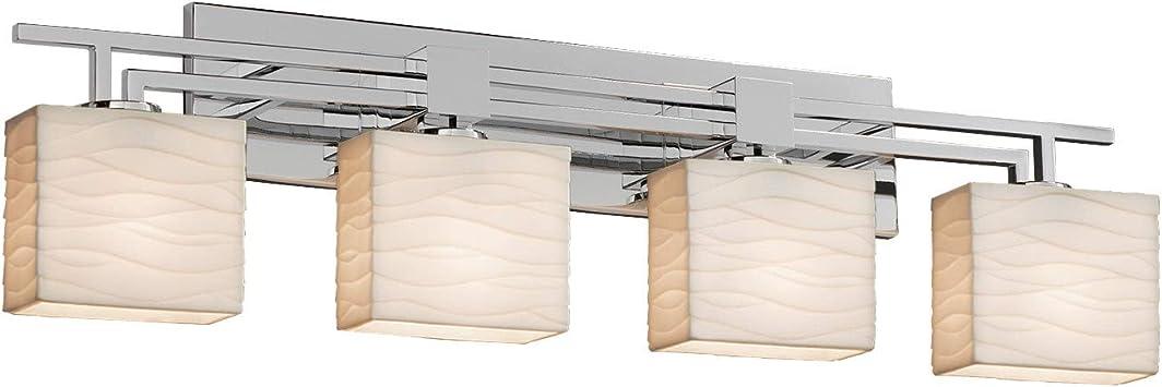 Justice Design Group Lighting PNA-8444-55-WAVE-NCKL-LED4-2800 Porcelina Era LED 4-Light Bath Bar-Brushed Nickel Finish-Rectangle Faux Porcelain Shade with Waves Impressions