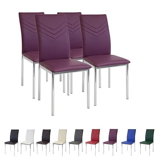94 opinioni per Albatros 2940 VERONA Set di 4 sedie da pranzo, porpora, piede cromato, SGS