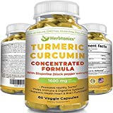 Cheap Concentrated Turmeric Curcumin 1600mg Bioperine (black pepper) Capsules/Supplement with 300mg Turmeric 95 Standardized Highest Amount! Tumeric with black pepper capsules, Joint Pain, Anti-Inflammatory