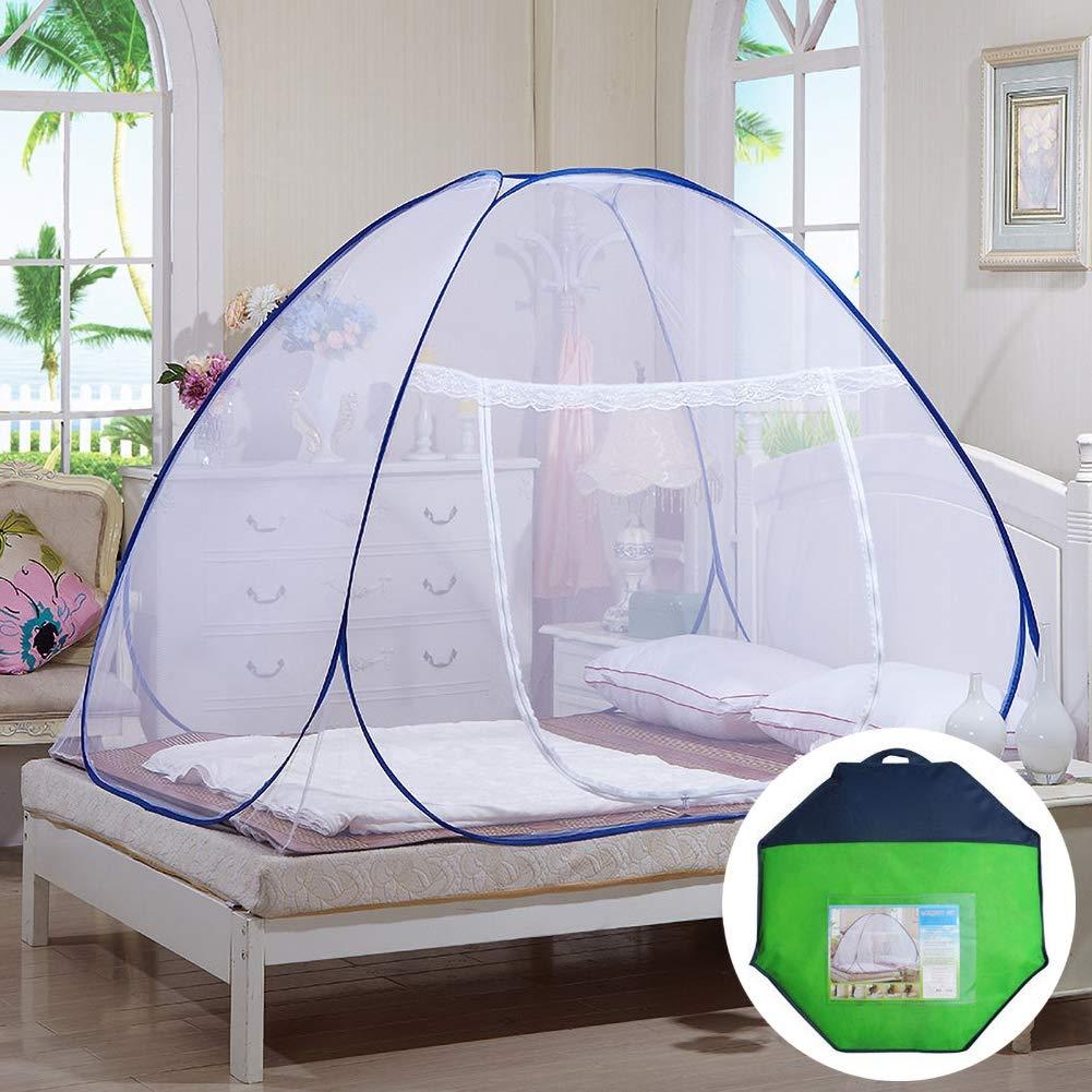 GLXQIJ Mosquito Nets Pop Up Tent Mongolian Yurt Dome Net, Indoor Bottom with Zipper Door Mosquito Net,Prevent Insect,SingleDoor,120190140CM