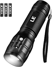 LE Torch, CREE LED Torch, Adjustable Focus Tactical Flashlight, Super Bright, Pocket Size, Suit for Camping, Cycling, Running, Dog Walking and More Outdoor Use, 3 AAA Batteries Included