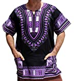 RaanPahMuang Unisex Bright Africa Black Dashiki Cotton Plus Size Shirt, XXXX-Large, Violet/Black