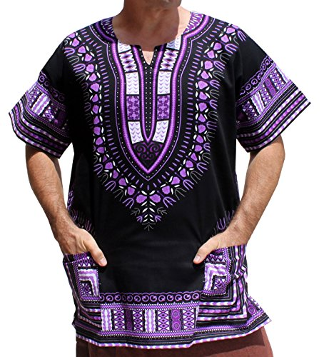 Fabrics That Care - Raan Pah Muang RaanPahMuang Brand Unisex Bright African Black Dashiki Cotton Shirt, XX-Large, Violet/Black