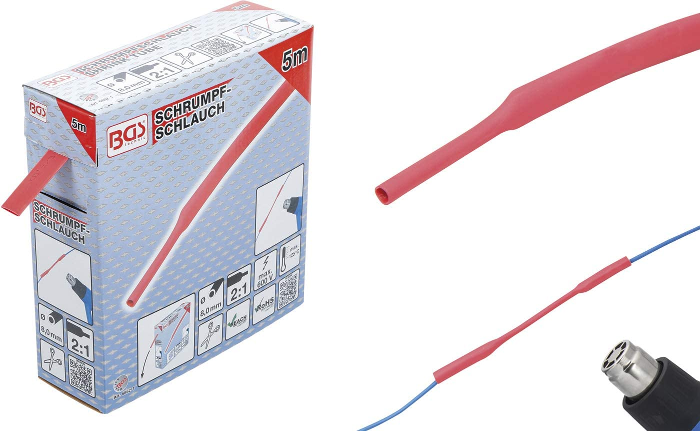 Color Rojo BGS 6852-1 6852-1-Tubo termorretr/áctil di/ámetro 8 mm, 5 m