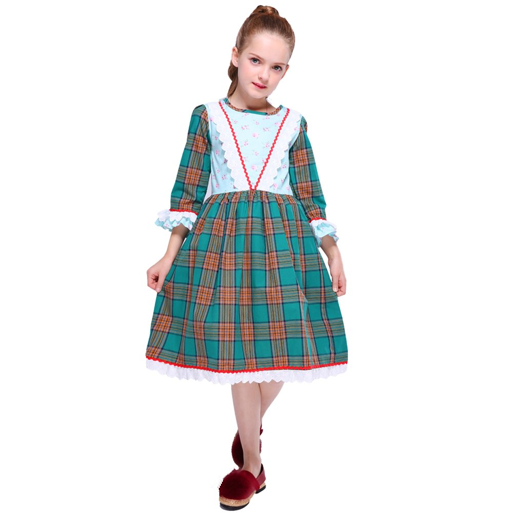 Victorian Kids Costumes & Shoes- Girls, Boys, Baby, Toddler 2-10 years  Kseniya Kids Big Little Girls Dresses Lace Floral Plaid Girl Autumn Winter Cotton Dress $17.99 AT vintagedancer.com