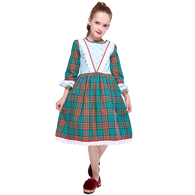 78adc329ac02 Amazon.com: Kseniya Kids Big Little Girls Dresses Lace Floral Plaid Girl  Autumn Winter Cotton Dress: Clothing