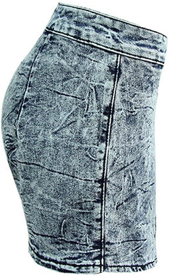 ZKOO Mujer Pantalones Cortos Irregular Cruzar Alta Subida para ...