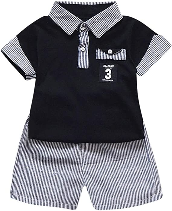 50f070c86e84 Clearance Boys Clothing Sets, 2PC Toddler Kids Baby Boy Letter Printed T  Shirt Tops+Striped Shorts Outfits Clothes Set
