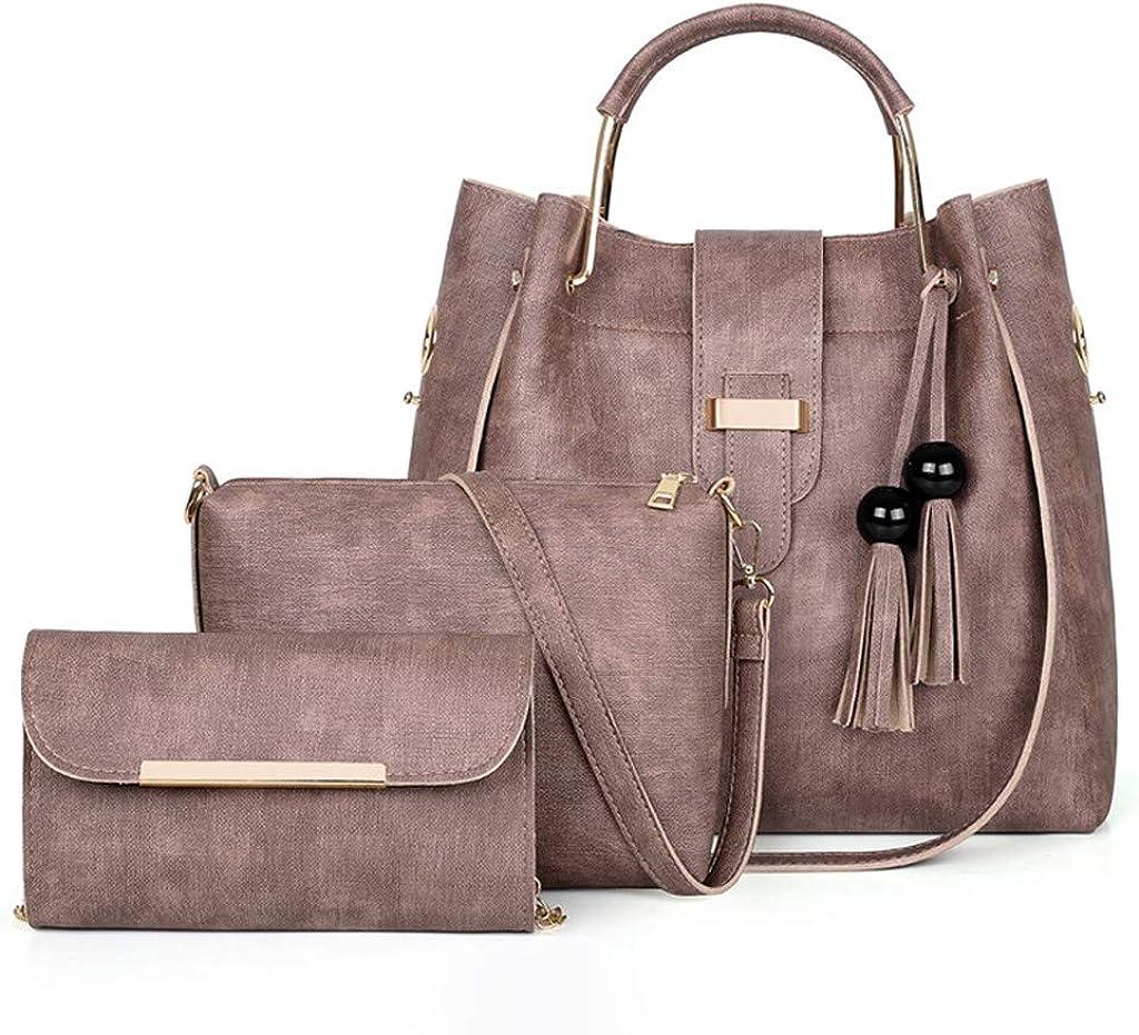 KIZOOM Women Fashion Outdoor Handbags Solid Color Tote Bag Shoulder Bag Satchel Purse Set 3pcs Leather Messenger Bag