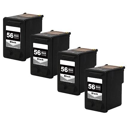 Teng® - 4 Cartuchos de Tinta remanufacturados HP 56 57-4 ...