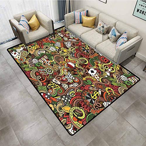 Bedroom Rugs Casino Decorations Doodles Style Art Bingo Excitement Checkers King Tambourine Vegas Kitchen Carpet 6'x9'