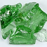 My Fireplace Glass - 50 Pound Fire Glass with Fire Pit Glass - Medium, 1/4 - 1/2 Inch, Crystal Green
