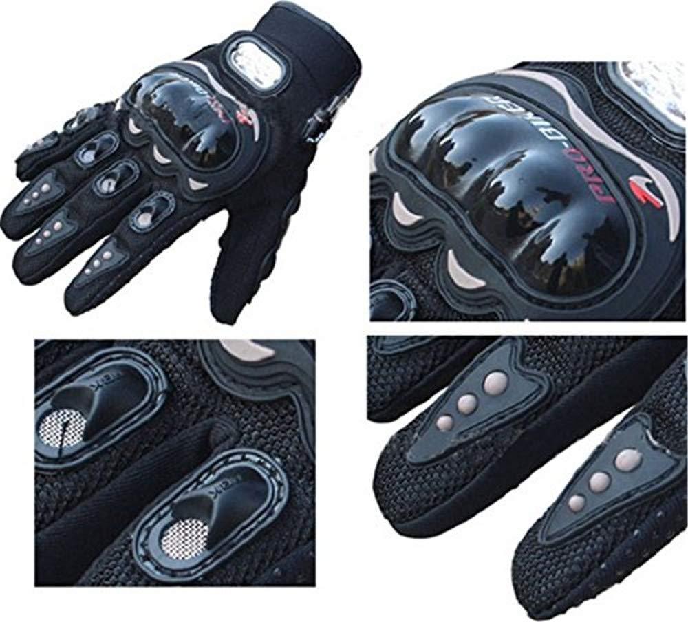 XL, Black Warmpty Guantes de Moto Negro Guantes Moto Verano Hombre T/áctil Dedo Completo Para Bici Ciclismo Deporte