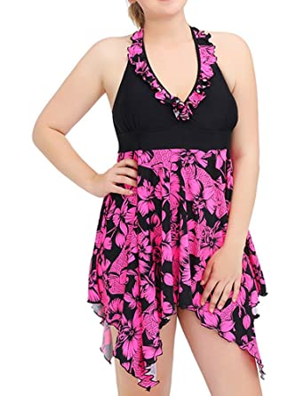 fec3e93448 ZXZY Plus Size Bathing Suit Women Ruffled Halter V Neck Bikini Set  Asymmetric Hem Floral Print