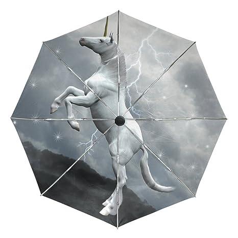 COOSUN Unicornio Sobre Las Nubes automático 3 plegable del paraguas del parasol Color # 002