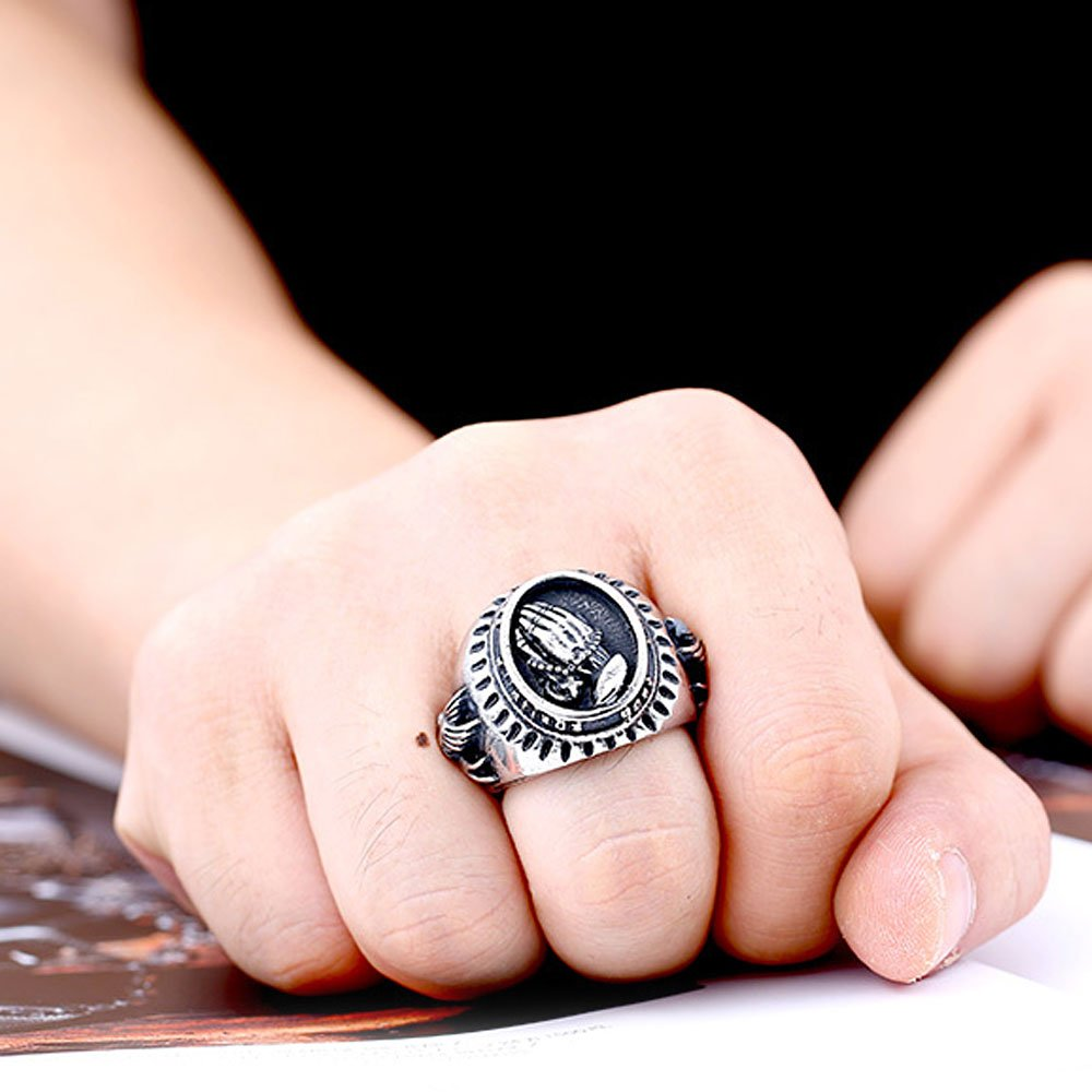 XAHH Jewelry Men's Stainless Steel Vintage Praying Hands Ring Black Silver 8 by XAHH (Image #5)