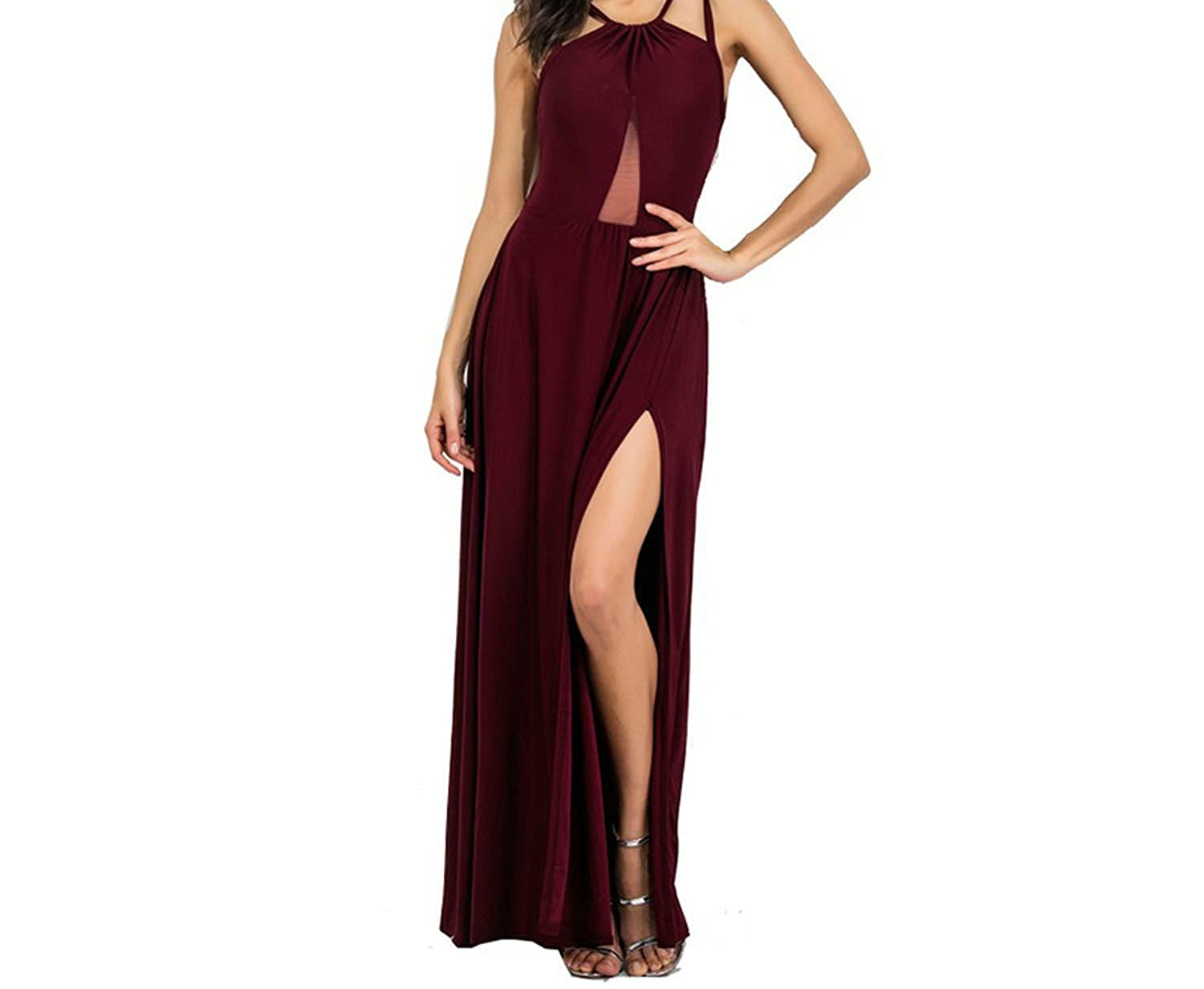 Split Backless Crossing Sexy Dress Female Autumn 2018 Fashion Sleeveless V Neck Women Dress at Amazon Womens Clothing store: