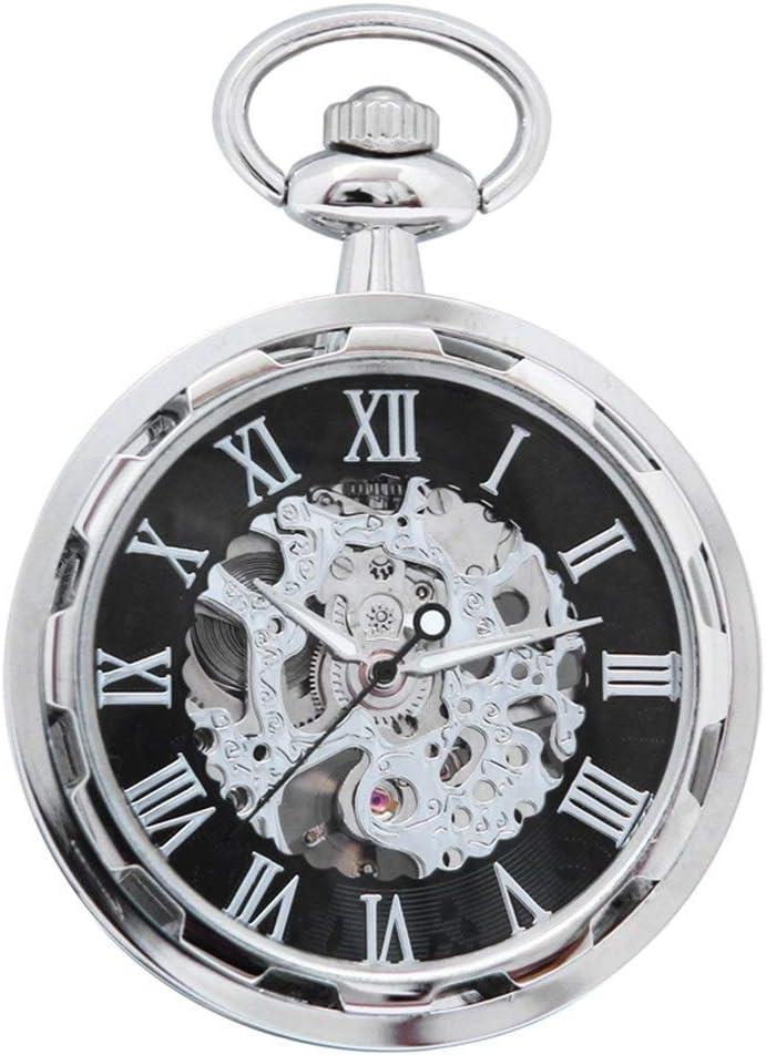 ZHJBD JIAN Pocket Watch, Punk Reloj De Bolsillo De Ruedas, Retro Relojes Mecánicos, Relojes De Bolsillo Hombres Y Mujeres Huecos, No Hay Estudiantes GAI Luoma Colgando Mesa.