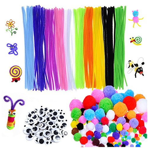 500pcs Pipe Cleaners Craft Set - Craft Supplies Set, Including 200pcs Self-Sticking Wiggle Googly Eyes, 100pcs Pipe Cleaners Chenille Stems & 200pcs Pompoms for DIY School Art Projects by Vicnice