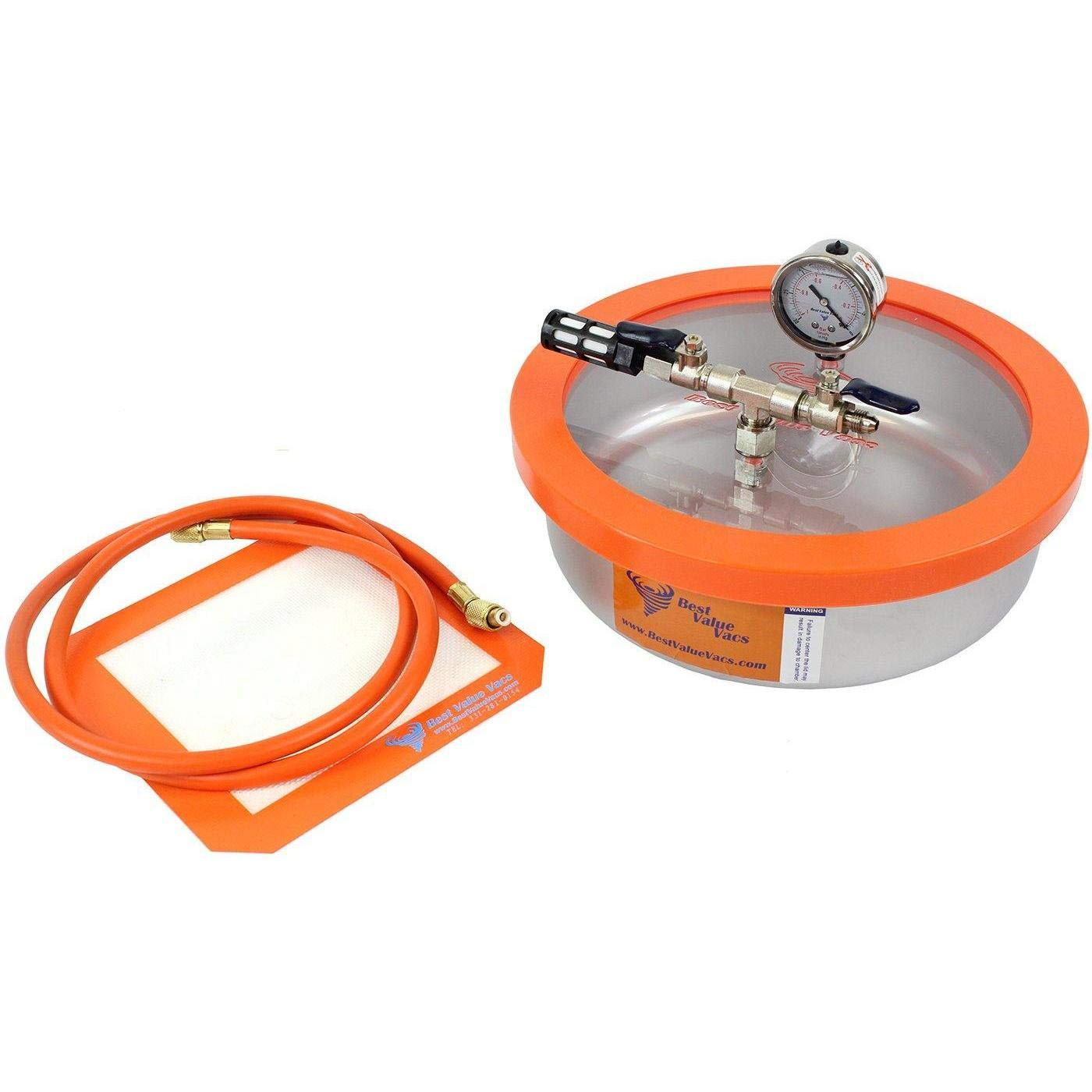 Best Value Vacs 1 Gallon Flat Stainless Steel Vacuum Chamber