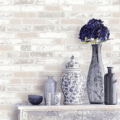Blooming Wall Faux Rustic Brick Wall Wallpaper Wall Mural, Priced in Double Rolls, Looks Real Up!03 Beige Faux Wallpaper