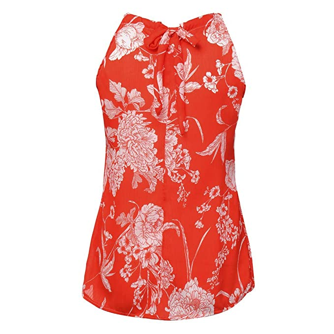 Fashion Womens Tank Tops Sleeveless Halter Neck Floral Print Casual Loose  Blouse (S