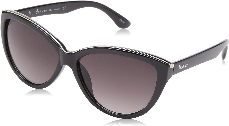 Laundry by Shelli Segal Women's LS102 Cat-Eye Sunglasses, Black/Silver, 59 mm