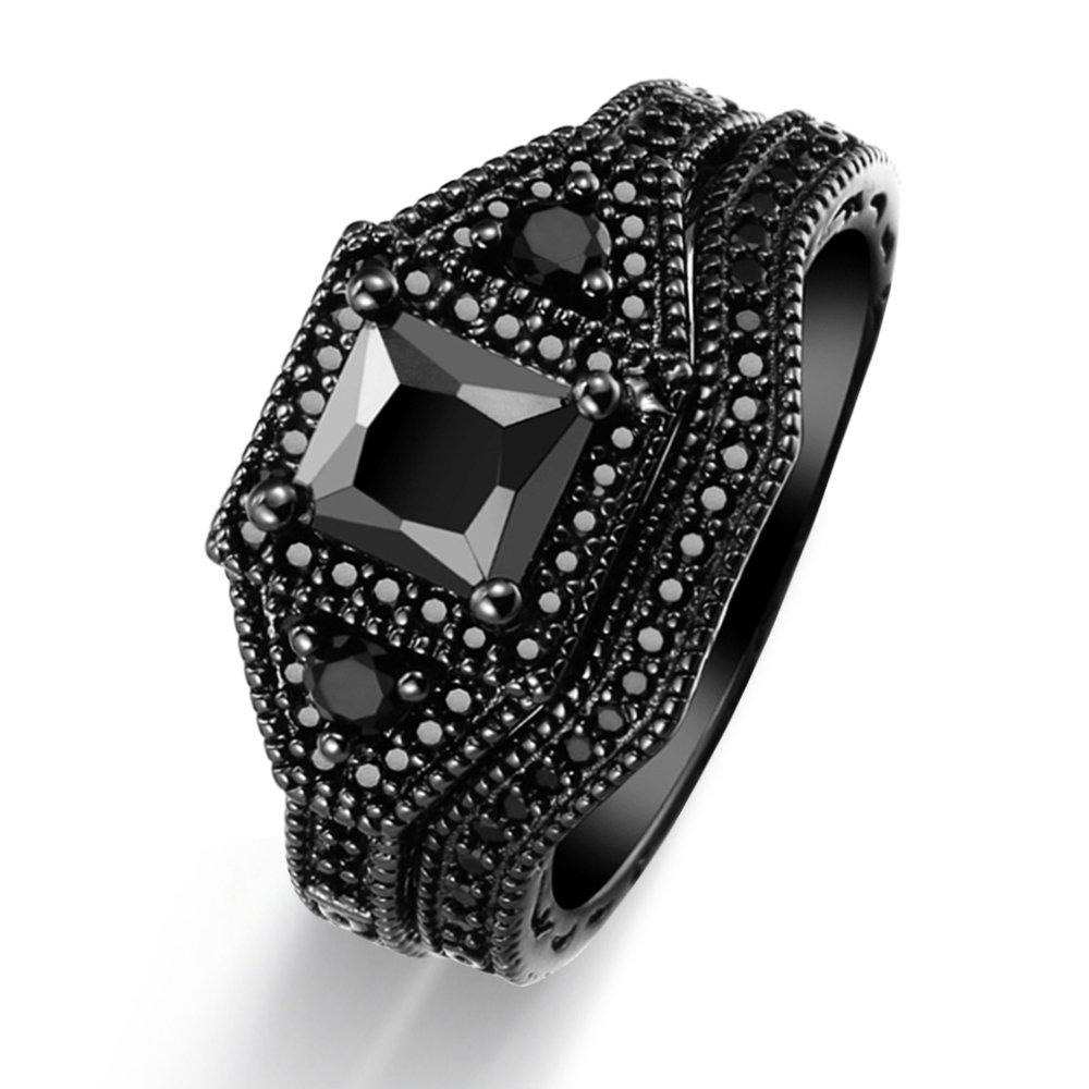 Women's Retro Gothic 18k Black Gold Rings Engagement Bridal Wedding Bands Jewelrys Set (7)