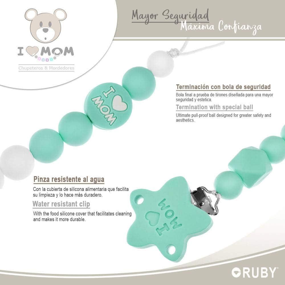 RUBY Menta chupetero para beb/é con bola y pinza de estrella I LOVE MOM de silicona libre de BPA y antibacteriana Cadena chupete silicona