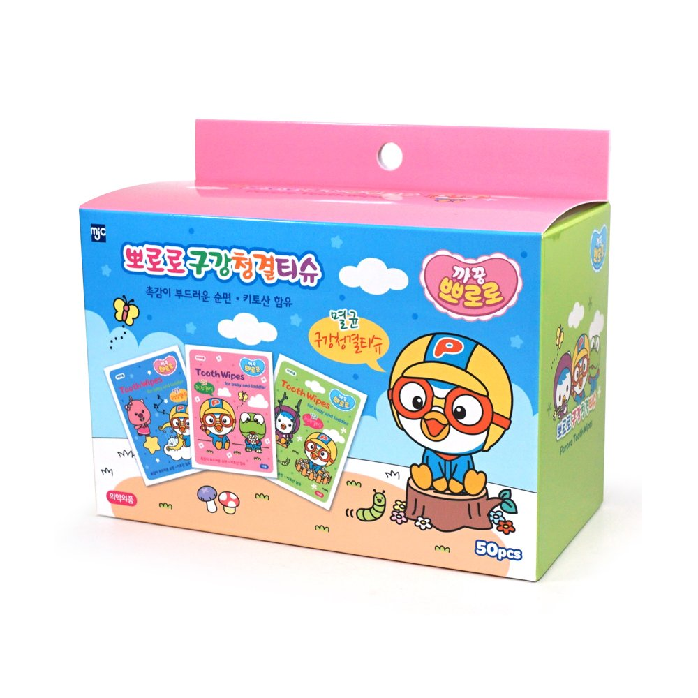 Pororo Baby Tooth and Gum Wipes 50 Count Natural Cotton Tissues Hygienic Individual Packed