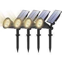 (4 Unidades) T-SUN Foco Solar, Impermeable Luces Solares Exterior, Luz de Jardín, 2 Modos de Iluminación Opcionales…