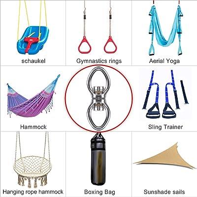 Dolibest Heavy Duty Swing Hangers,Permanent Antirust SUS304 Swing Set Accessories for Indoor Outdoor Swing Hanging kit Boxing Bag Hammock Chair Yoga Swing Mount,Capacity 2000LB 2PCS