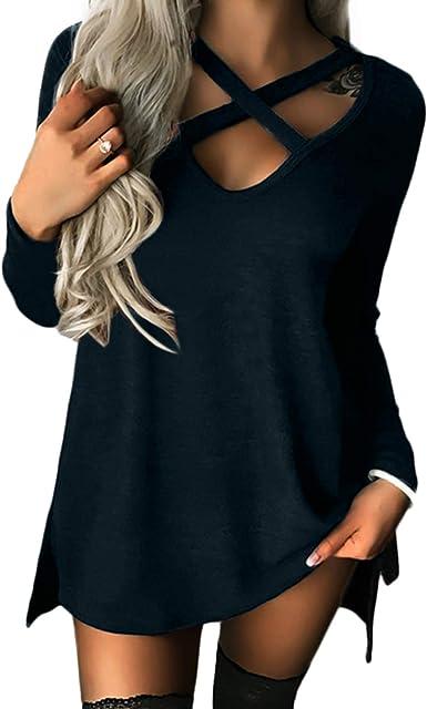 TALLA XS. YOINS Camiseta Mujer de Manga Larga Camisa con Hombros Fríos Color Sólido Cuello en V Blusa