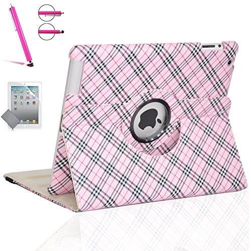 (iPad 2 Case, iPad 3 Case, iPad 4 Case, Zeox Rotating Stand Smart Case Protective Cover with Auto Wake Up/Sleep For Apple iPad 2, iPad 3, iPad 4 [with Screen Protector Cover+Stylus], Plaid Elegant Pink)