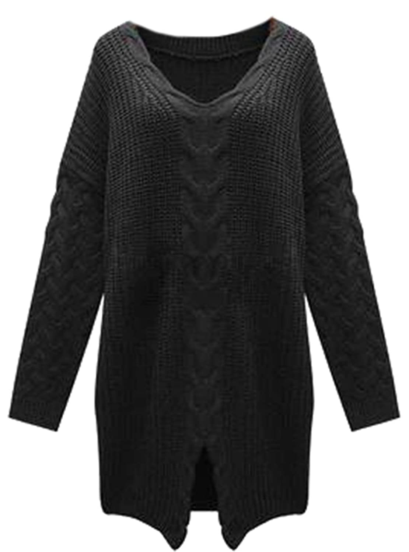 YUNY Womens Stylish Twist Split Knitted Soft V-neck Sweaters