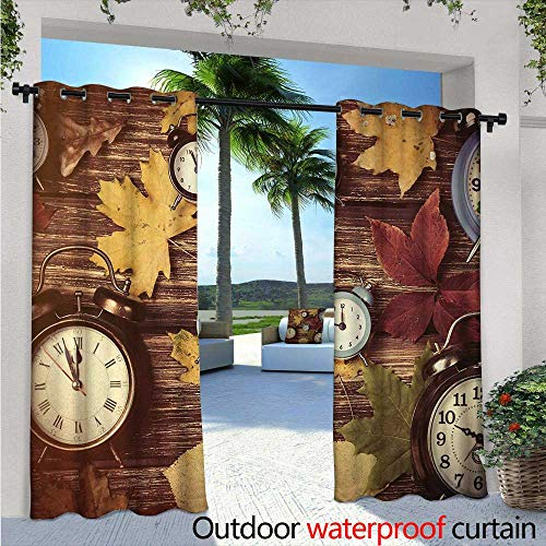 (BlountDecor Fall Patio Curtains W96 x L108 Different Colored Dry Maple Leaves and Various Alarm Clocks on Wooden Planks Print Outdoor Curtain for Patio,Outdoor Patio Curtains Multicolor)