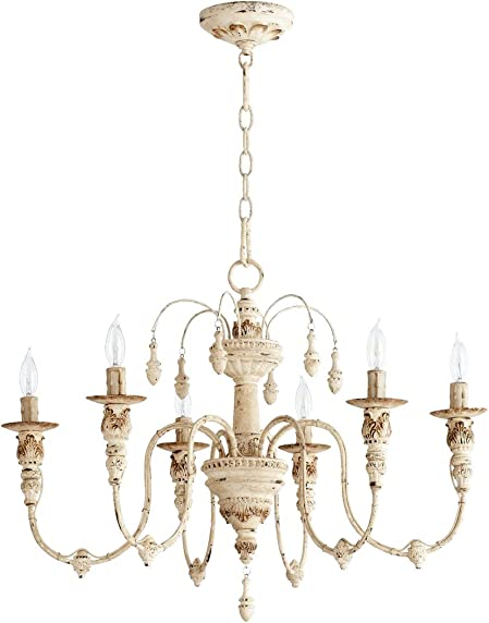 Quorum 6316-6-70 Salento 25 6-Light Chandelier in Persian White