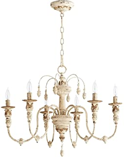 Kathy kuo home maison french country antique white 6 light quorum 6316 6 70 salento 25 6 light chandelier in persian white aloadofball Gallery