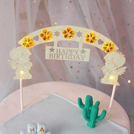 Adorno para tarta con diseño de ángel con luces LED para ...