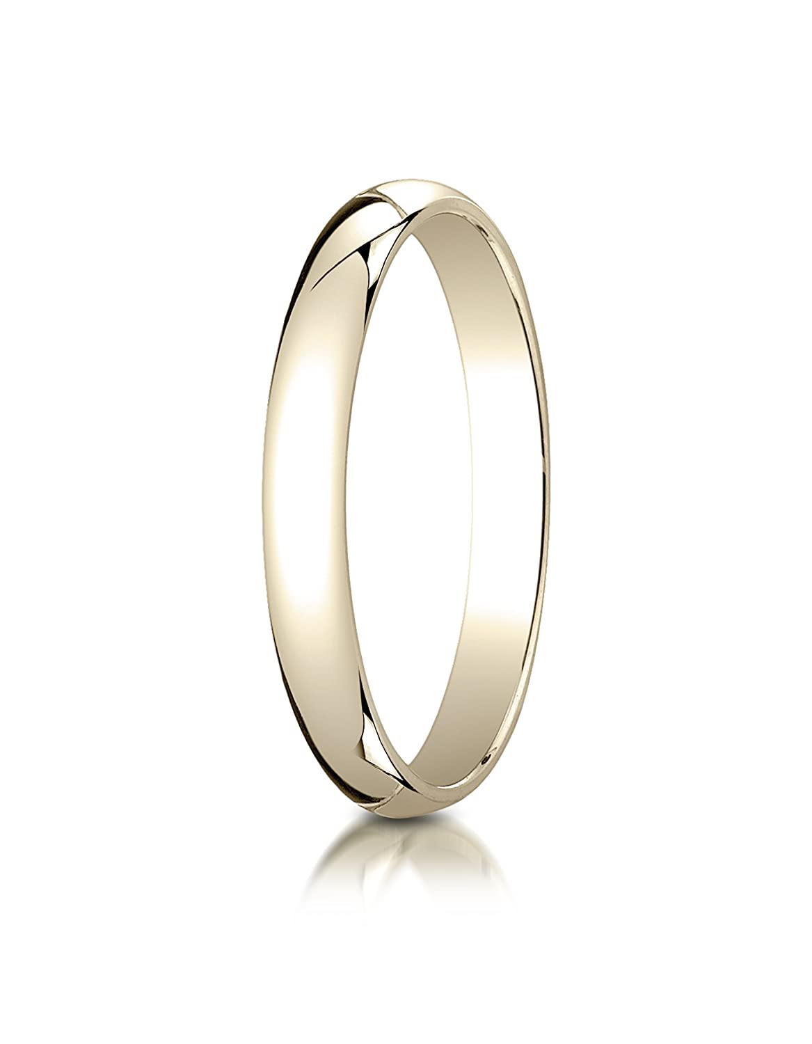 PriceRock 14K Yellow Gold 3mm Slightly Domed Traditional Oval Wedding Band Ring for Men /& Women Size 4 to 15