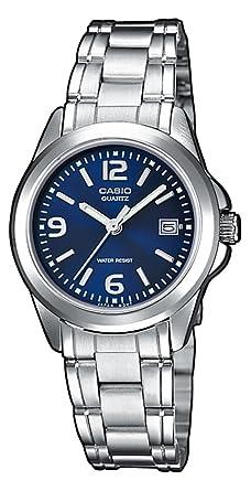 CASIO LTP1259D2AEF - Reloj de mujer de cuarzo, correa de acero inoxidable, pantalla color azul