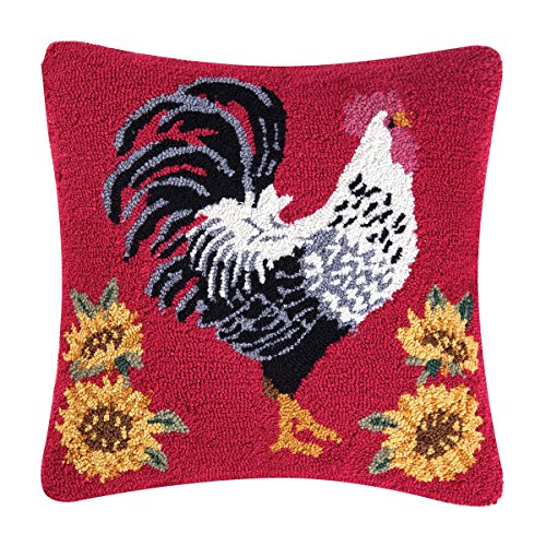 - C&F Home Parisian Rooster Hooked Pillow, Red