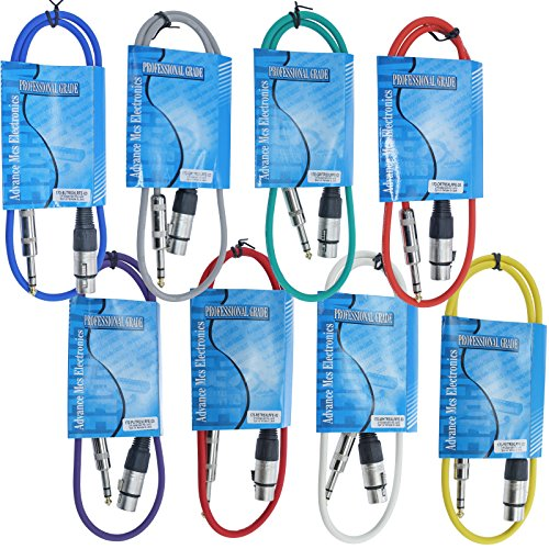 MCSPROAUDIO 8 Pack Snake: 3 Foot ft 3 Pin XLR Female to 1/4