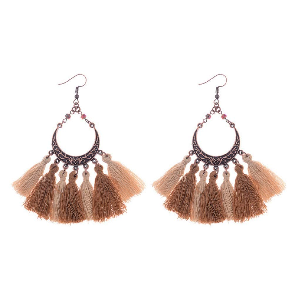 Copper Crescent Moon w//Silk Thread Tassels Statement Earrings 2 1//2 Latest Fashion