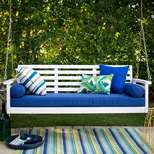 White Coastal Cottage Wood 65″ Porch Swing with Blue Cushions Outdoor Furniture