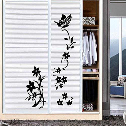 Winner666 2019 New Flower Vine Room Refrigerator Wardrobe Sticker Decal Mural Home Decor (Black)