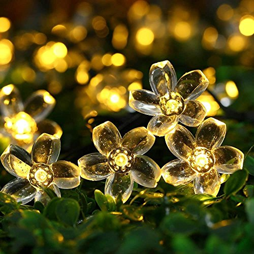 Outside Solar String Lights Outdoor Waterproof LED Flowers Decorations, 23 Ft 50 Fairy Warm White LEDs Blossom Garden Lighting for Christmas,Patio,Lawn,Fence,Holiday (Low Voltage)