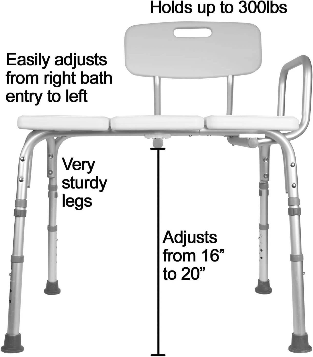 Carex Tub Transfer Bench - Shower Chair Transfer Bench with Height Adjustable Legs - Convertible to Right or Left Hand Entry: Health & Personal Care
