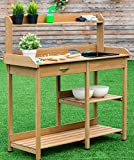 K&A Company Bench Potting Table Garden Planting Outdoor Wood Work Station Patio Storage Wooden Shelf Stand Plant Gardening Yard Top Workstation Shelves