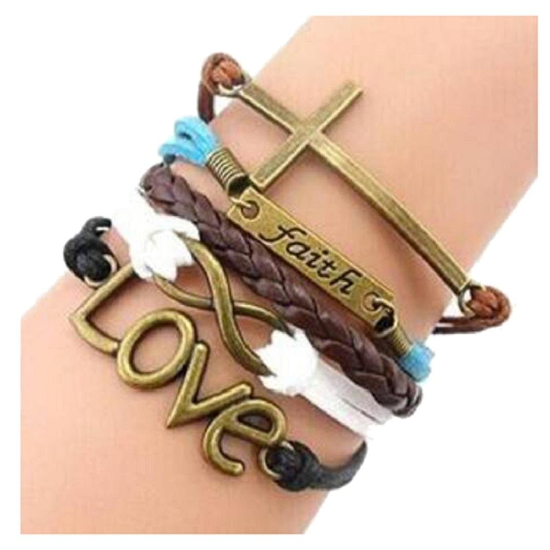 Nurbo Handmade Love Owl Wings Multilayer Knit Leather Rope Chain Bracelet Nurbo-0820